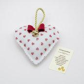 Gadget portafortuna cuore bianco con campanellino, 9 x 9 cm