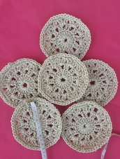 Sottobicchieri bianchi fatti a mano in cordino thai con lamé argento - Set 6 pz sottobicchieri Handmade