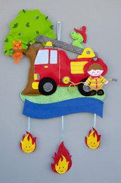 Fiocco nascita il piccolo pompiere e Grisù, 54 x 35 cm