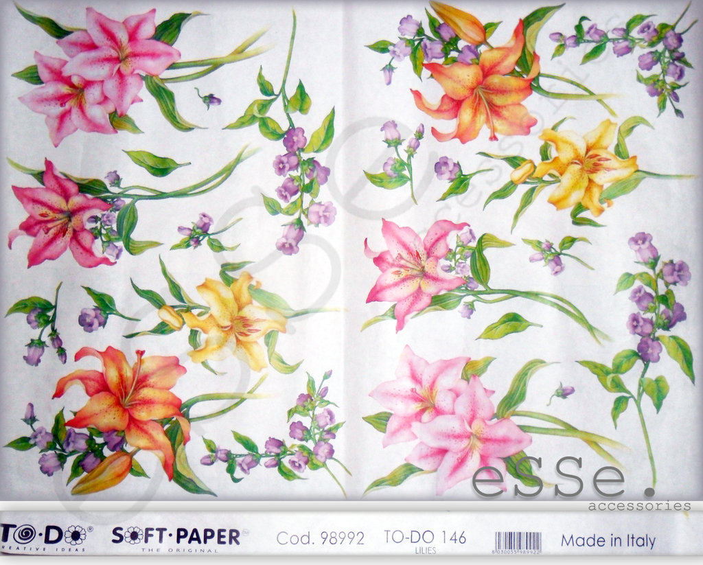 Carta per decoupage_ Fiori multicolore_