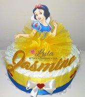 Torta di Pannolini principessa ELSA BIANCANEVE ecc femmina Pampers Baby Dry idea regalo nascita battesimo baby shower