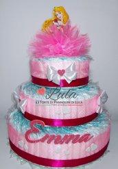 Torta di Pannolini principessa AURORA BIANCANEVE ELSA ecc femmina Pampers Baby Dry idea regalo nascita battesimo baby shower