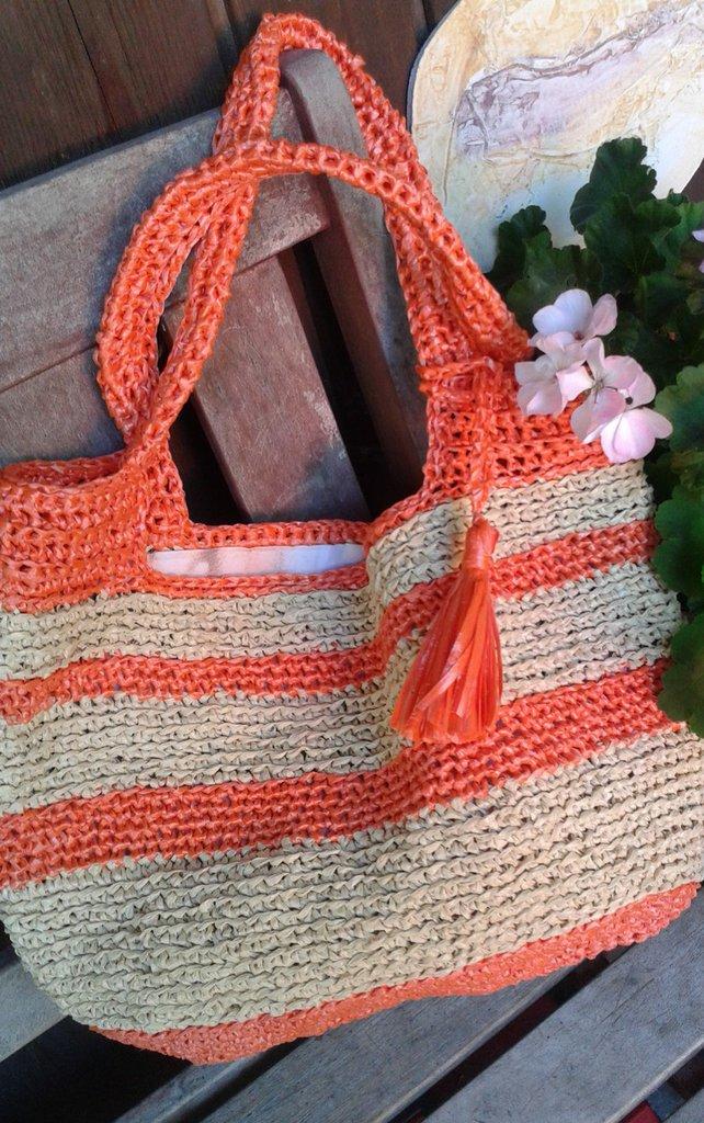 """Borsa """"Sabbia"""" rafia crochet natura handmade Italy"""