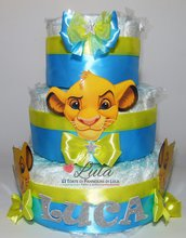 Torta di pannolini Pampers Simba Il Re Leone maschio idea regalo nascita battesimo baby shower