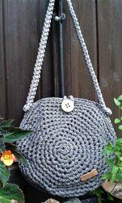 Borsa in fettuccia lurex/cotone/lycra nuova crochet natura made in Italy Pirite