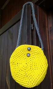 borsa in fettuccia/cotone/lycra nuova crochet natura made in Italy Zolfo
