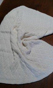 """Copertina neonato baby crochet afgano lana handmade in Italy  """"Filipendula"""""""