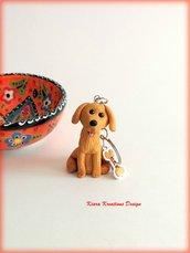 Portachiavi con golden retriever in fimo personalizzato con il nome, miniatura cane labrador, idee regalo per appassionati di cani