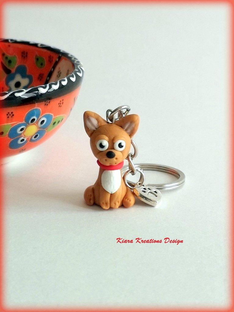 Portachiavi in fimo cane chihuahua, kawaii, miniatura, regalo compleanno, regalo natale, regalo appassionati di cani, gioielli chihuahua