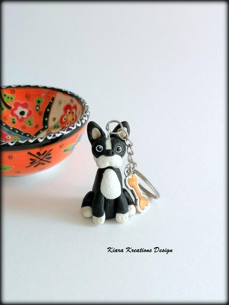 Portachiavi Bulldog francese in fimo, bijoux bulldog, portachiavi cane, gioielli cani, regalo cane, appassionati di cani, regalo uomo