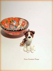 Portachiavi jack russel in fimo, jack russel miniatura, idee regalo compleanno, personalizzabile