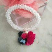 Bracciale elastico cristallo bianco fiore viola perle