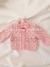 Maglia giacca  bambina in rosa con roselline ricamate