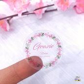 Etichette adesive a colori personalizzate TRASPARENTI, etichette adesive personalizzate per bomboniere, chiudipacco ecc