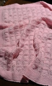 "Copertina neonato baby crochet afgano lana handmade in Italy  ""Bocci di rosa"""