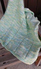 "Copertina neonato baby crochet afgano lana handmade in Italy ""Prato di campagna"""