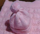 """Cuffia neonato lana handmade in Italy """"bocci di rosa"""""""