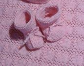 """Calzini neonato lana handmade in Italy """"bocci di rosa"""""""