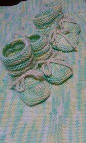 """Calzini neonato lana handmade in Italy """"prato di campagna"""""""