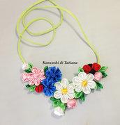 Collana kanzashi con fiori 6.3