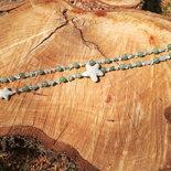 Collana Senza Chiusura con avventurina, Cristallo e Pietra lavica, Tecnica dei Nodi, Lunga 75 cm, Fatta a Mano