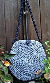 Borsa in fettuccia lurex/cotone/lycra nuova crochet natura made in Italy Lapislazzuli