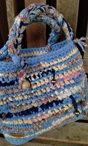 "Borsa  ""Jodhpur"" in fettuccia cotone/lycra nuova  fatta a mano crochet natura  made in Italy"