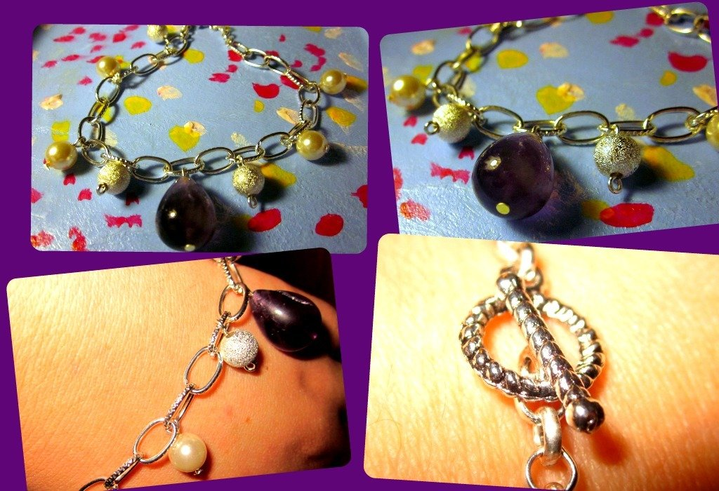 """bracciale con ametista, perle bianche e """"perle"""" in argento"""