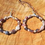 Orecchini a cerchio con agata del Botswana e perline Rocailles, cerchio 40 mm, fatti a mano