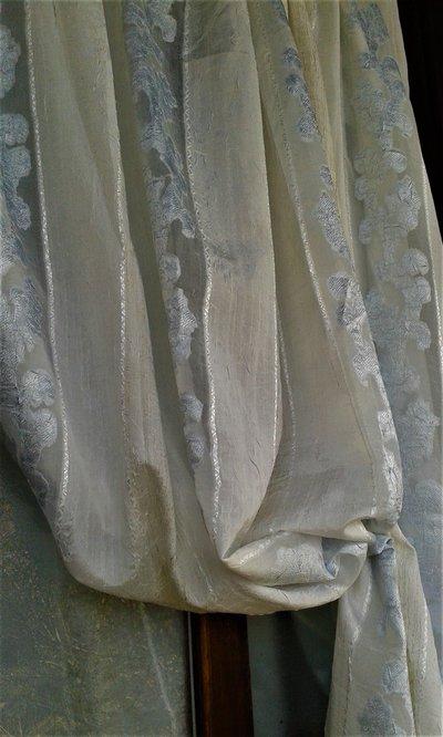 tenda tendone scampolo tessuto vintage anni '70 bianco azzurro