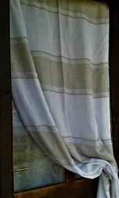 tenda tendone scampolo tessuto vintage anni '70 nocciola e panna