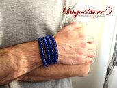 Bracciale da uomo avvolgente a 4 giri con perle in pietra Giada Blu oceano e pelle nera,idea regalo,multigiro