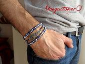 Bracciale uomo ALA ANGELO,libertà, con perle in pietra dura Sodalite blu, pallini,sfere, per lui stile etnico chanluu con cordino avvolgente