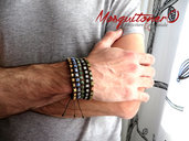 Bracciale uomo perle cubo pietra Unakite, Sodalite Diaspro, Giada artigianale con nodi in cordino boho, etnico