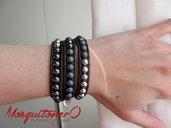 Bracciale da donna a 3 giri con perle in ematite nero grigio in stile avvolgente etnico con charms mappamondo