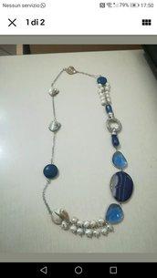Collana perle pietre dure blu