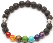 Bracciale unisex elastico con perle di vera pietra vulcanica lavica naturale da 8 mm più 7 pietre naturali dai colori chakra cristalloterapia