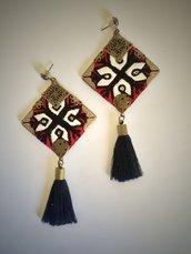 orecchini etnici rossi fatti a mano , orecchini tradizionali online