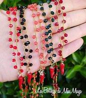 Collana lavorata a maglia rosario con cornetto corno portafortuna