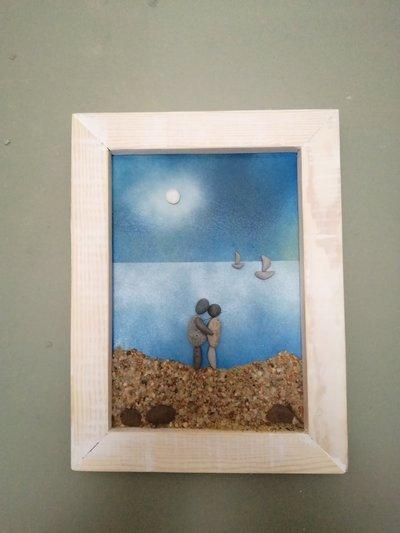 INNAMORATI AL CHIARO DI LUNA,quadro in relievo,idea regalo