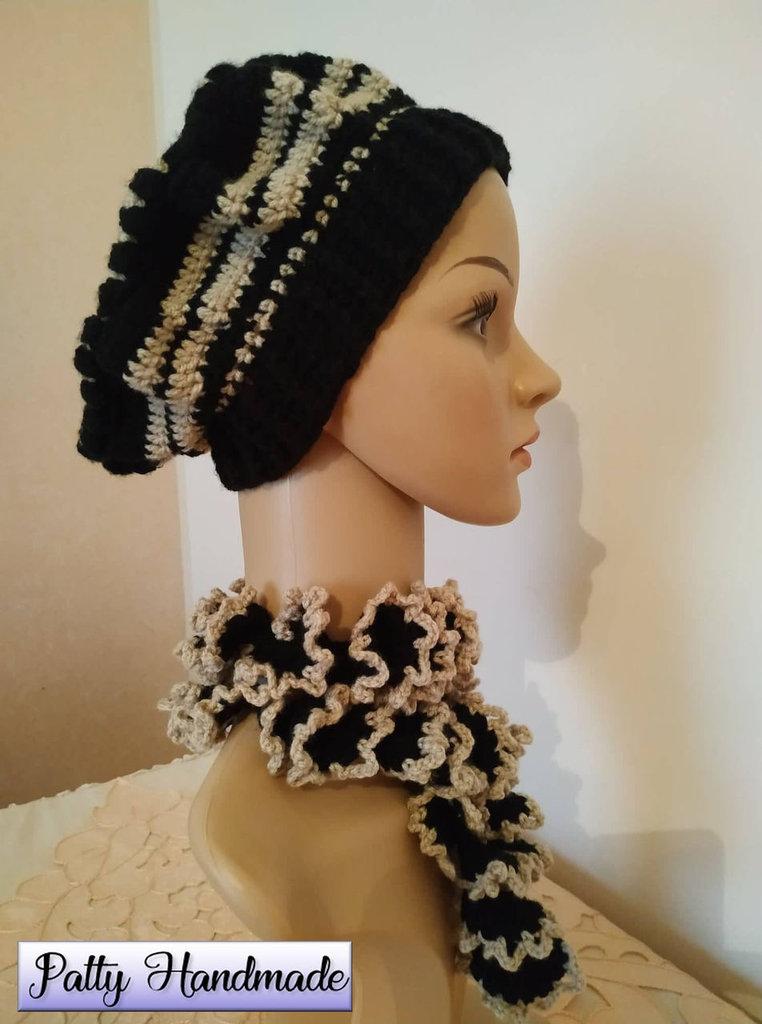 Basco e sciarpina a spirale donna ad uncinetto, in nero e beige