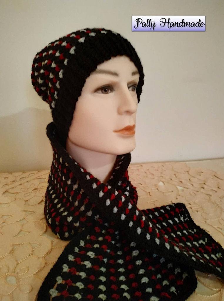 Cappello e sciarpa per uomo ad uncinetto