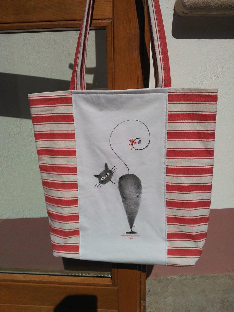 """Shopping bag"""" Gatto"""" dipinta e realizzata a mano"""