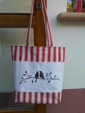 """Shopping bag """"Ramo """" realizzata e dipinta a mano"""