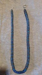 Collana tubolare perline blu