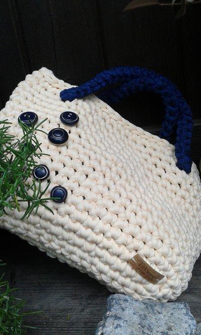 Borsa fettuccia cotone lycra crochet handmade Italy Nuvola