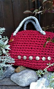 Borsa fettuccia cotone lycra crochet handmade Italy Corallo