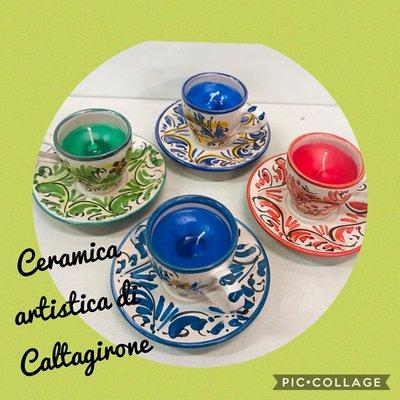 candela tazzina in ceramica di caltagirone
