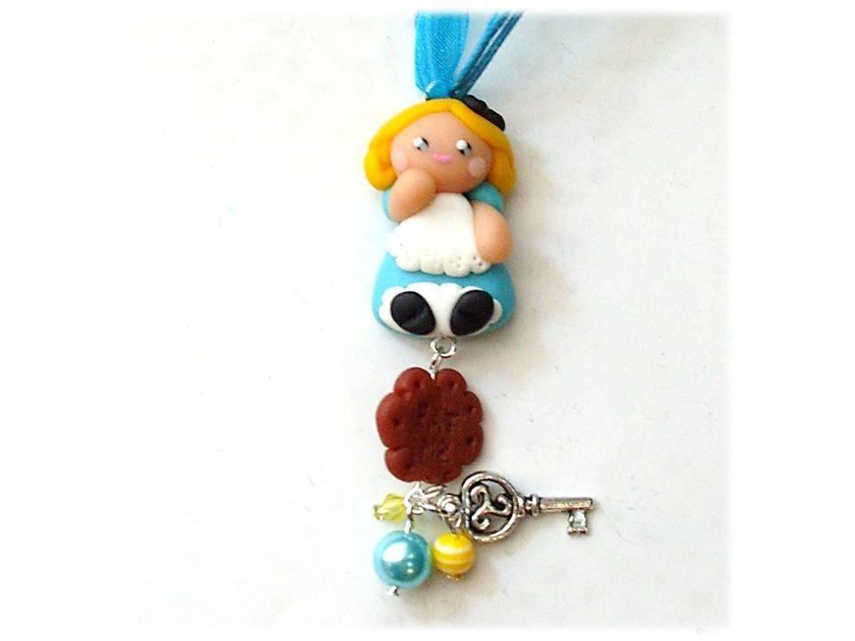 Collana Alice con biscotto e chiave