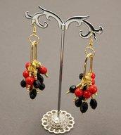 orecchini estate chandelier rosso neri stili hippy